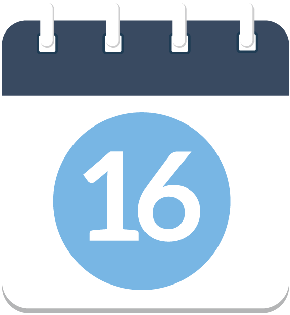 Calendar icon with the number 16 in the middle